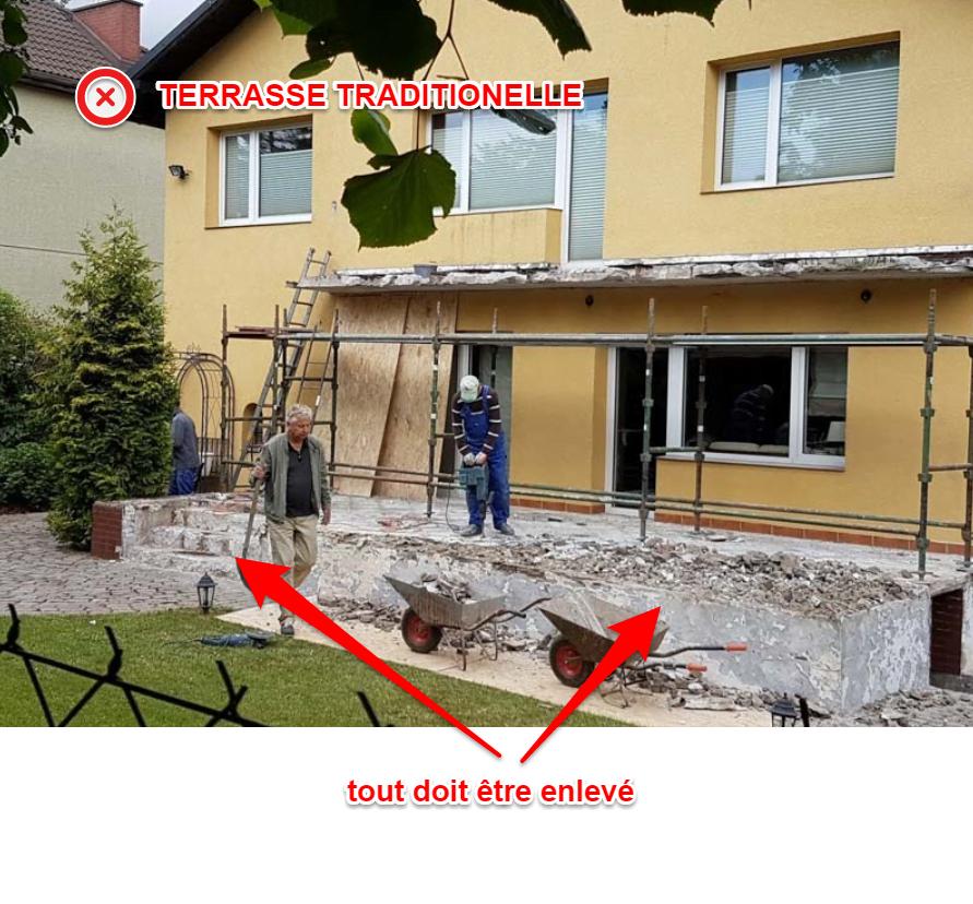 Réparation complexe de la terrasse - enlèvement des carreaux