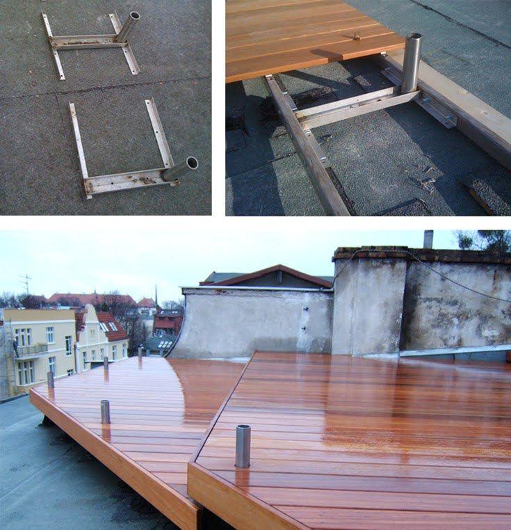 stalowa balustrada mocowana do rusztu legarów bez uszkodzenia hydroizolacji