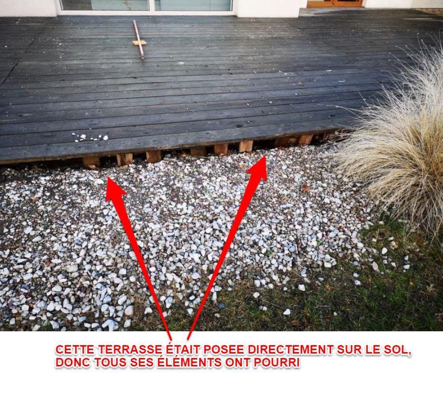 Réparation de la terrasse - pourrissement de bois