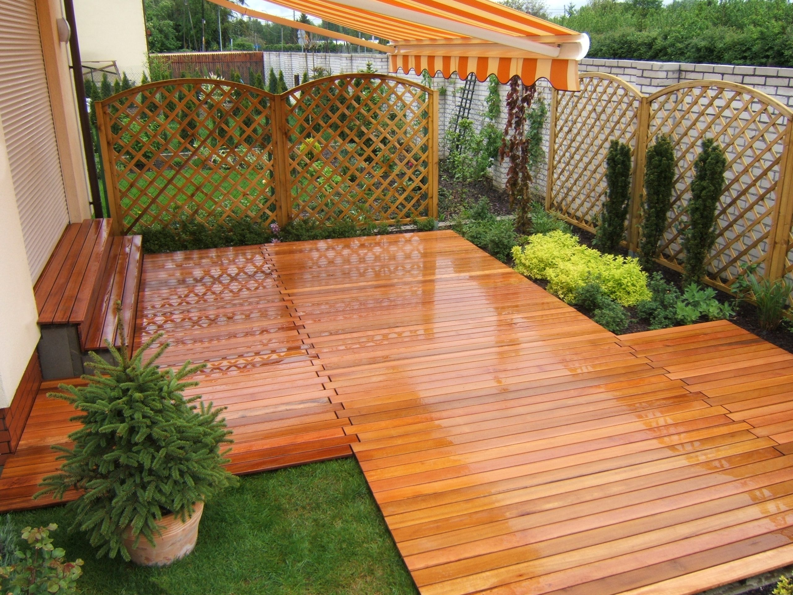 exotic hardwood boards on a ventilated terrace on the ground