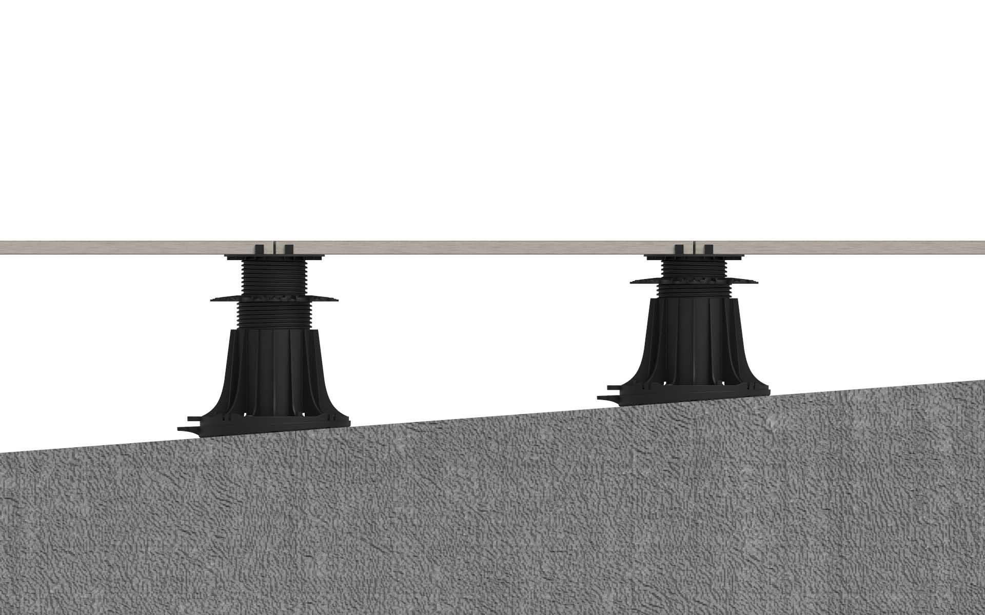 wyrównanie dużego spadku na płycie tarasowej korektorem nachylenia