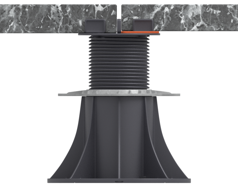 alignment of different thicknesses of terrace tiles on the adjustable pedestal