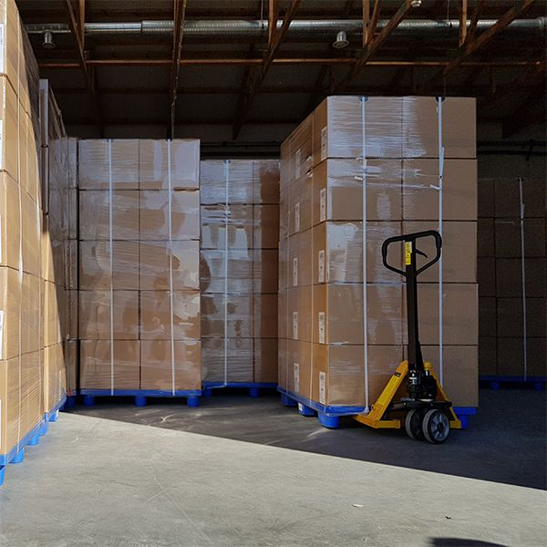 pallets with adjustable pedestals ready to go to the distributor