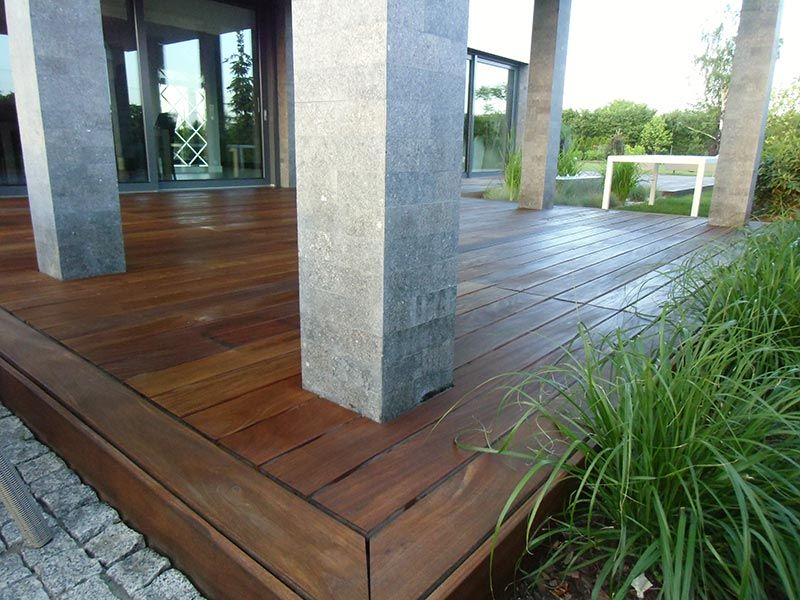 wooden terrace with masked edges and substructure