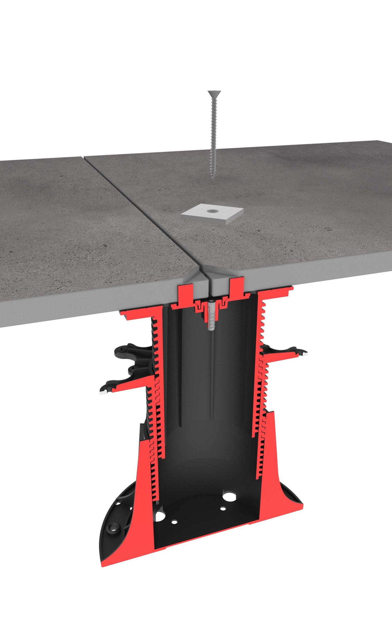 Verschrauben der Terrassenplatten mit der verstellbaren Stelzlager