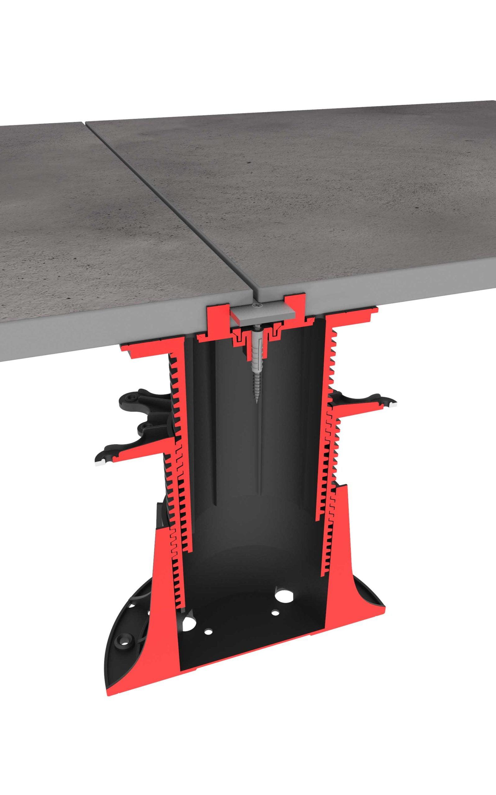 girando el soporte regulable con baldosas de terraza