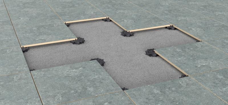ventilated terrace on low adjustable pedestals