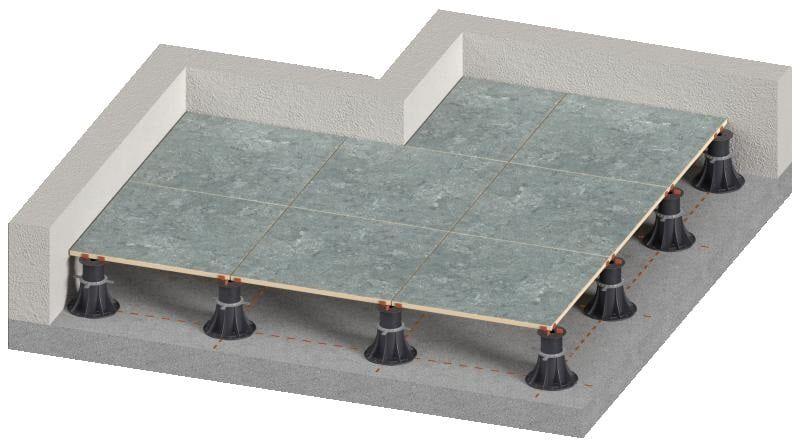 belüftete Terrasse auf verstellbaren Stelzlager