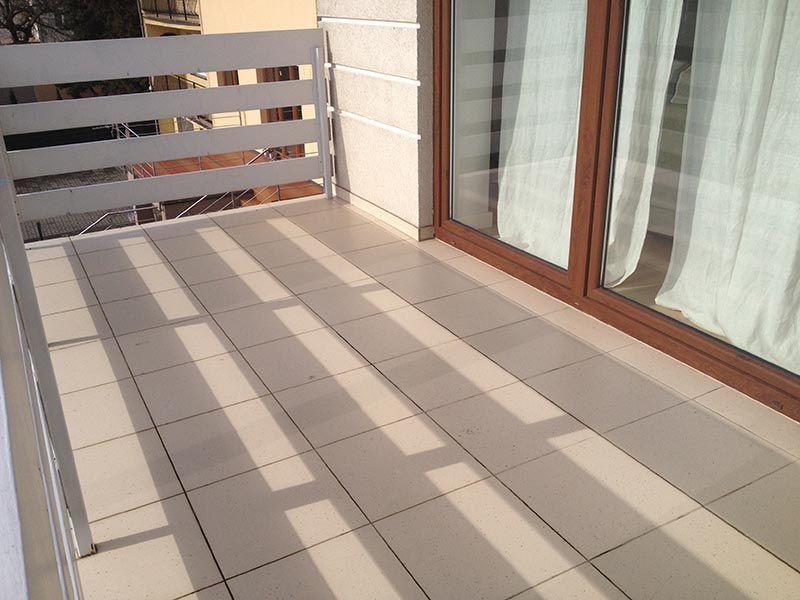 ceramic tiles glued on the balcony