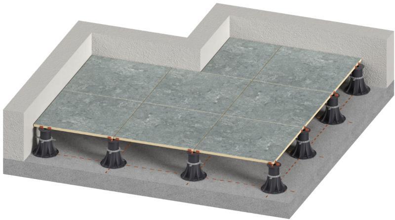 ventilated terrace on adjustable pedestals