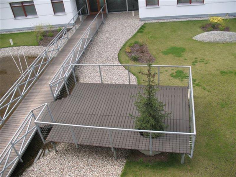 footbridge, patio made of boards