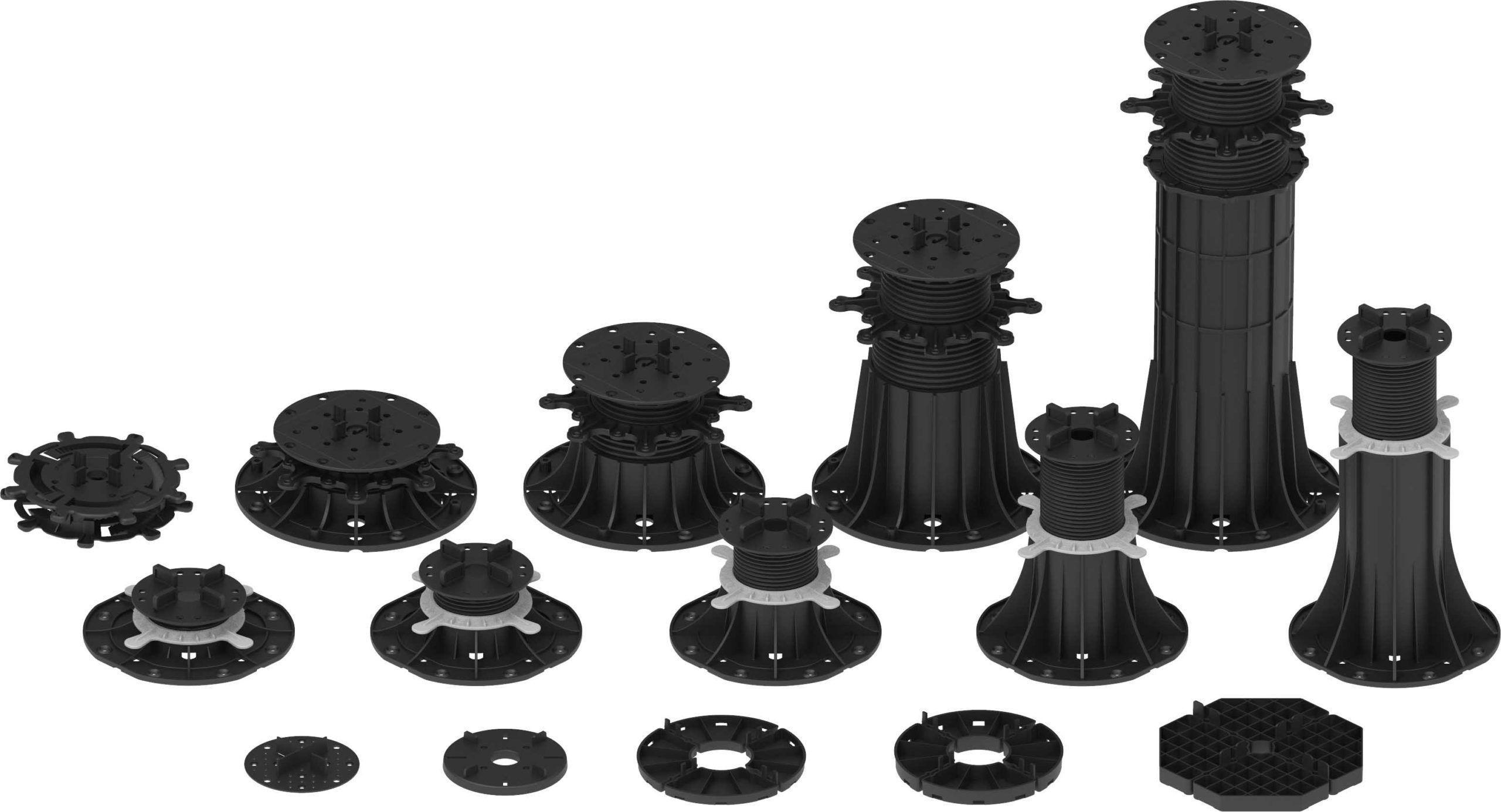 Comparison of terrace pedestals DD Pedestals of all available series