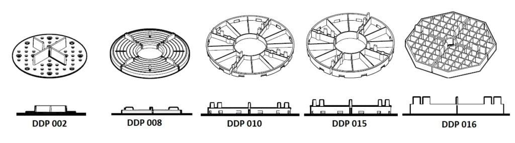 podstawki podpłyty tarasowe - zestawienie dostępnych wysokości