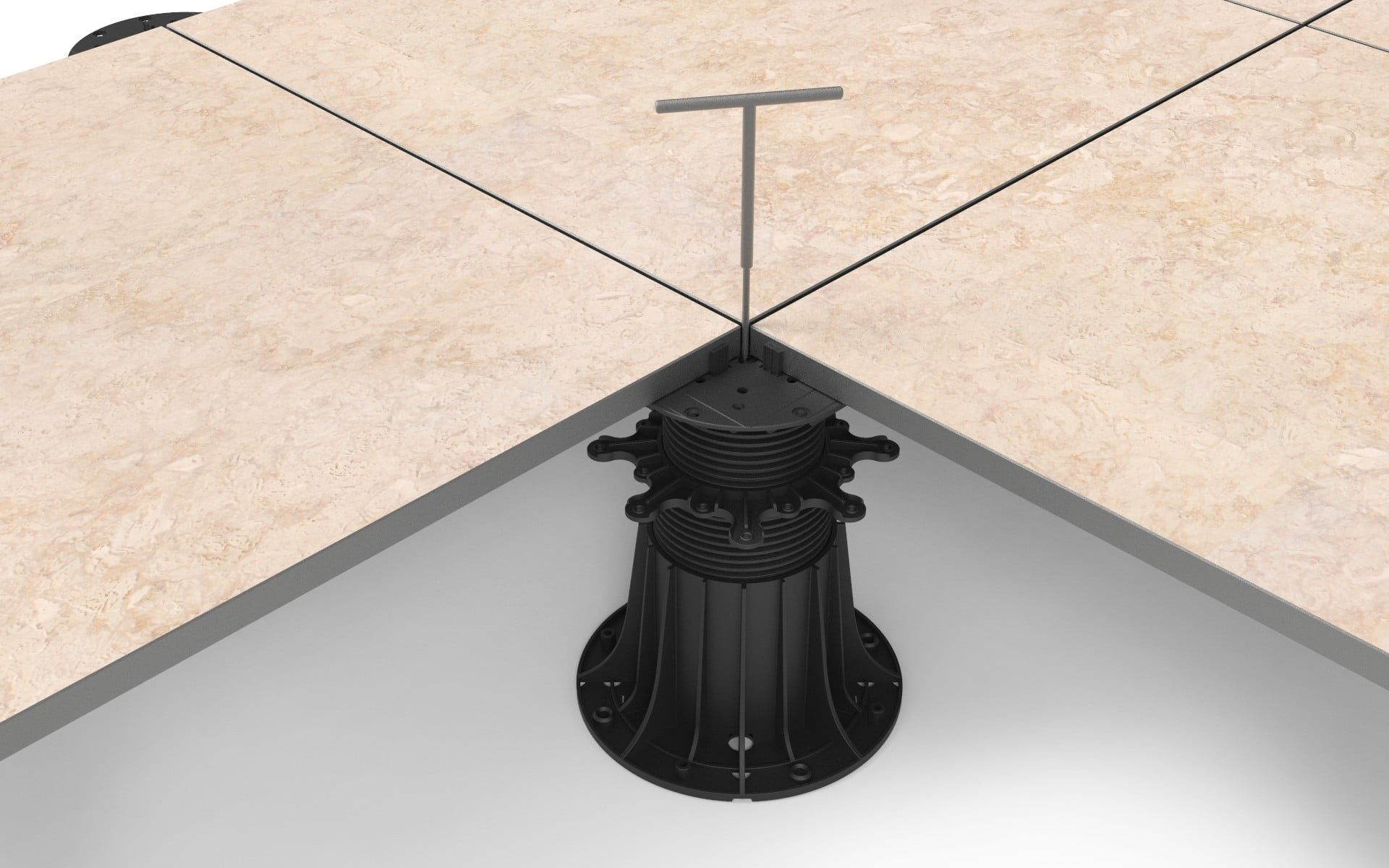 height adjustment of the tiles on the adjustable pedestals after the terrace is installed